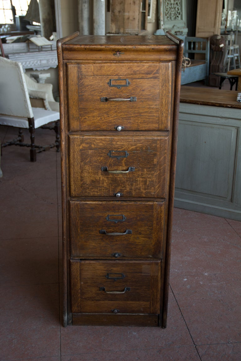 Vintage British Kenrick And Jefferson Oak Filing Cabinet