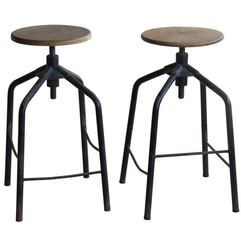 Pair Of Vintage French Industrial Adjustable Stools At 1stdibs