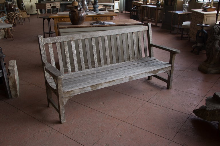 Vintage English Wooden Bench At 1stdibs
