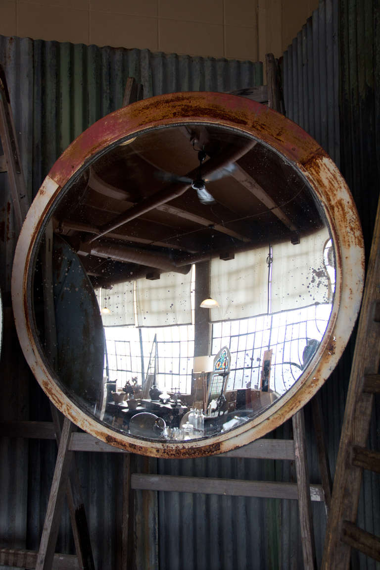 Large Vintage Convex Mirror At 1stdibs