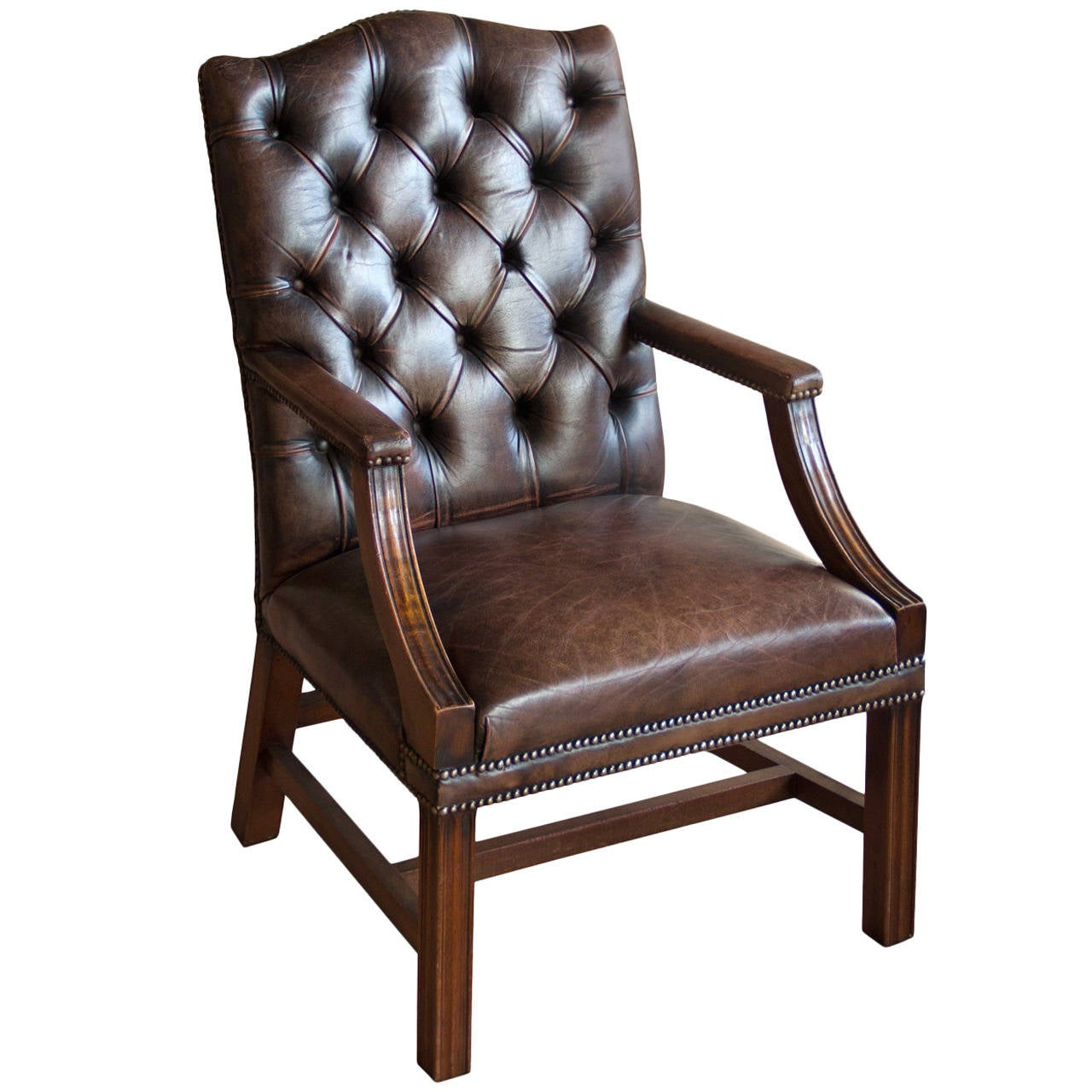 English Vintage Leather Gainsborough Chair At 1stdibs