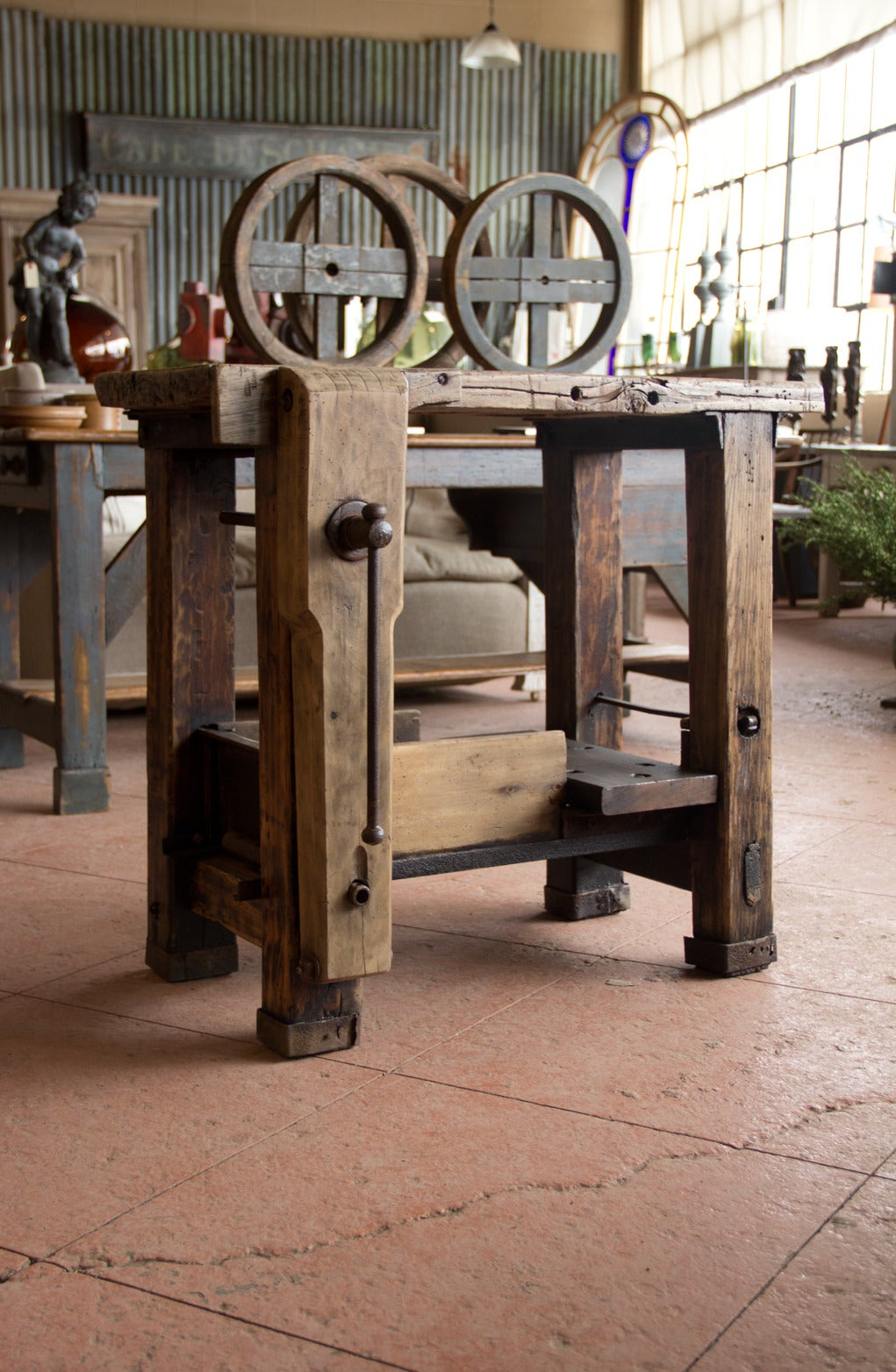 Small Antique French Work Bench At 1stdibs