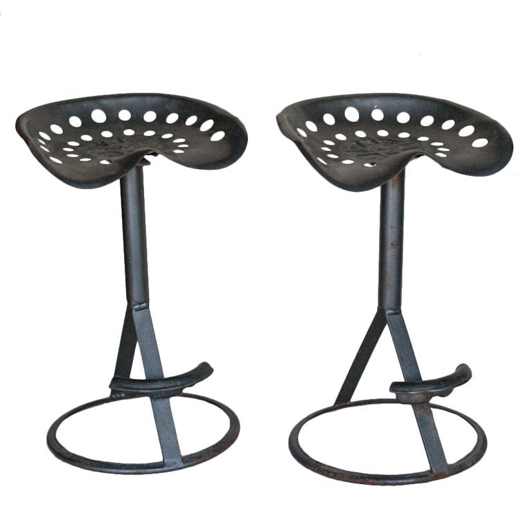 Pair Vintage Tractor Bar Stools At 1stdibs