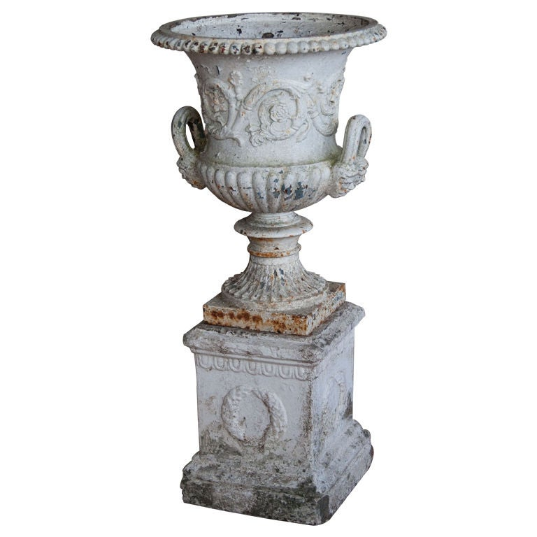 Victorian Cast Iron Urn On Base At 1stdibs