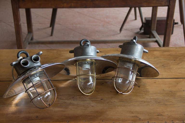 set of 3 english vintage industrial nautical lights at 1stdibs. Black Bedroom Furniture Sets. Home Design Ideas