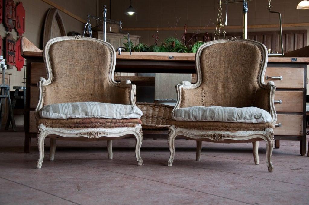 Pair Antique French Bergère Chairs 3 - Pair Antique French Bergère Chairs At 1stdibs