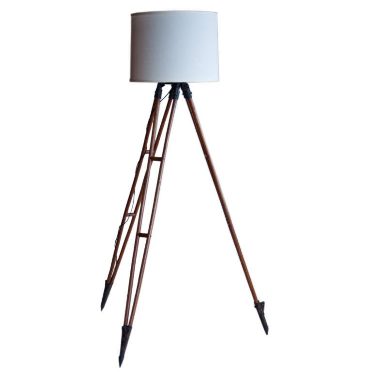 Vintage surveyor39s tripod repurposed as floor lamp at 1stdibs for Surveyors floor lamp wood