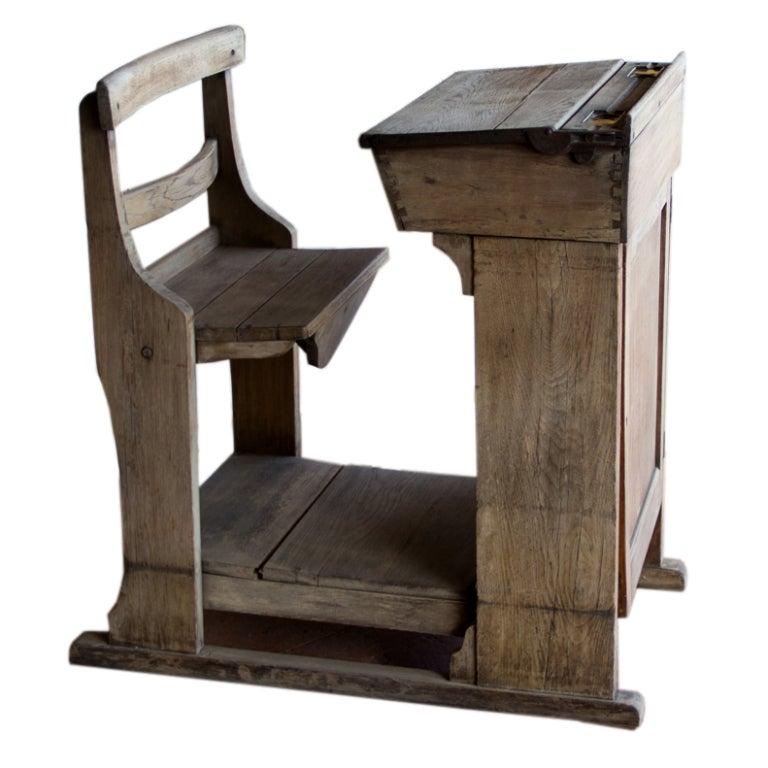 Victorian Oak Teacher's Desk 1