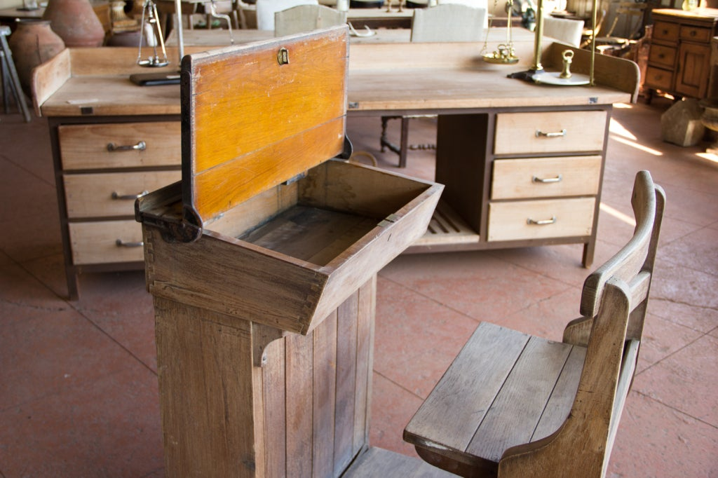 Victorian Oak Teacher's Desk 8