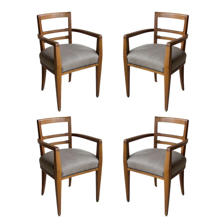 Set Of Four French Art Deco Dining Room Chairs At 1stdibs