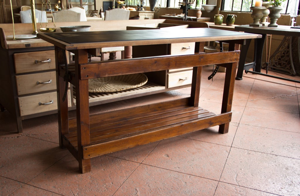 Vintage Chemistry Table with Welsh Slate Top at 1stdibs