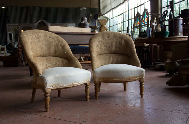 Pair of Vintage French Ladies' Tub Chairs 3 - Pair Of Vintage French Ladies' Tub Chairs At 1stdibs