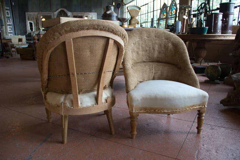 Pair of Vintage French Ladiesu0027 Tub Chairs For Sale 4 & Pair of Vintage French Ladiesu0027 Tub Chairs at 1stdibs