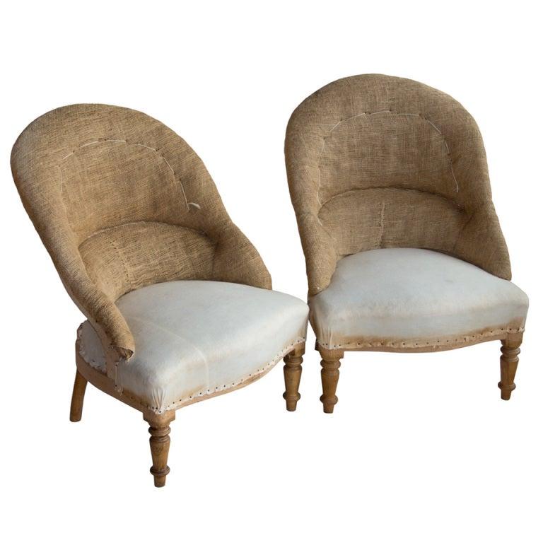 Pair Vintage French Ladies Tub Chairs at 1stdibs