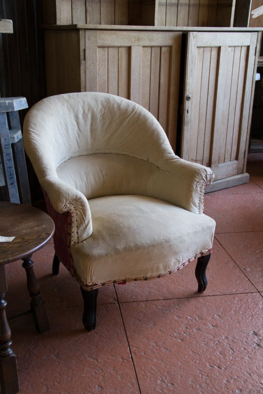 Lovely antique French ladies tub chair with original stuffing and ready for  your upholstery. - Antique French Ladies Tub Chair At 1stdibs