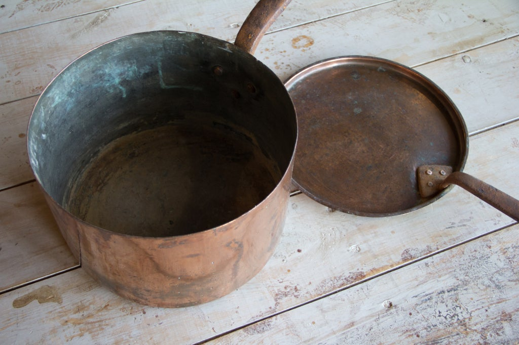 British Antique English Copper Pan with Lid