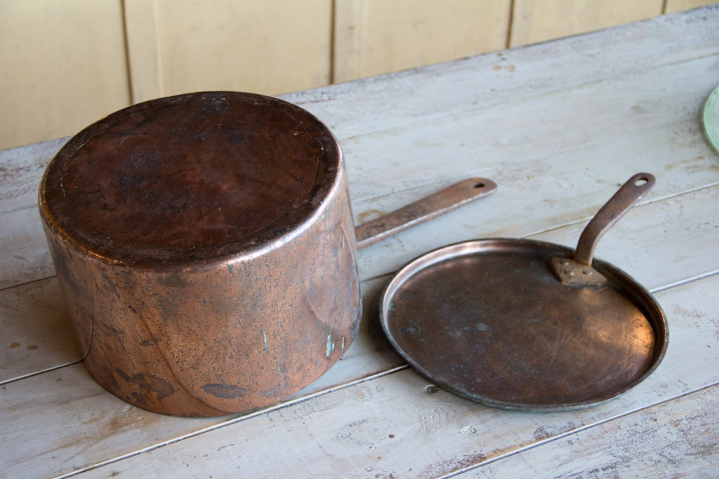 Antique English Copper Pan with Lid 2