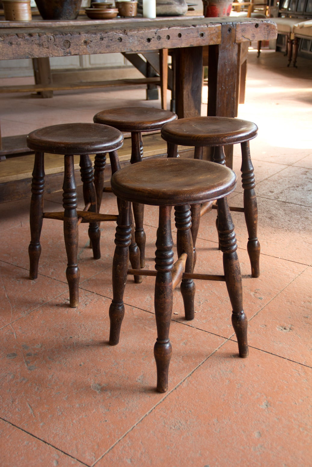 Set Of Four Antique English Pub Stools At 1stdibs