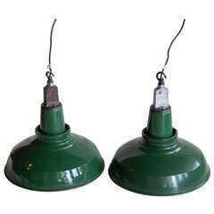 Pair of Green Enamel Factory Lights