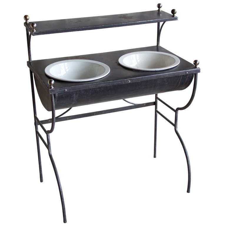 Argentinian art nouveau wrought iron and zinc washstand at 1stdibs for Wrought iron bathroom furniture
