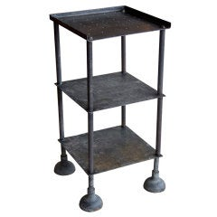 English Vintage Industrial Iron 3-Tiered Shelf