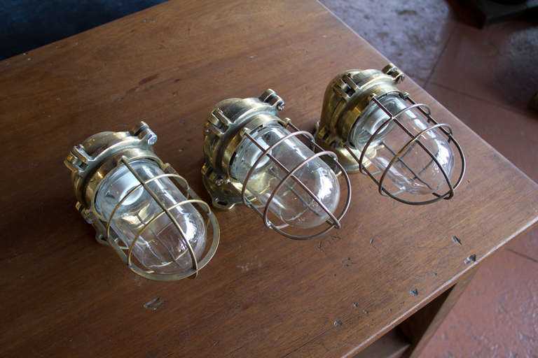 Set Of 3 Heavy Cast Br Vintage Nautical Page Lights With Their Original Gl Shades