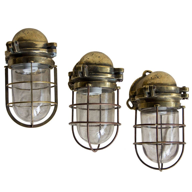 Set Of 3 Vintage Heavy Br Nautical Lights At 1stdibs