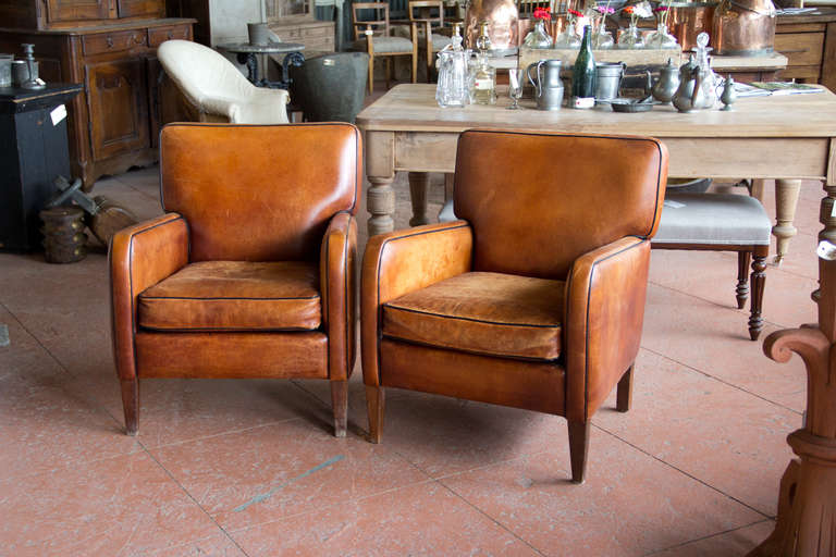 Incroyable Wonderful Pair Of Comfortable Vintage French Leather Chairs, Soft Brown  With Black Piping. Some