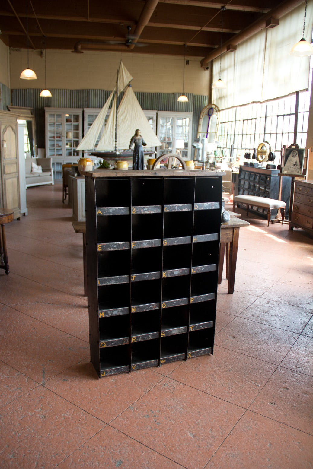 Vintage English Industrial Pigeon Hole Cabinet 2
