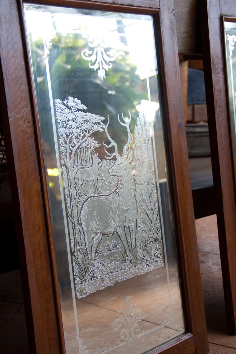 Pair Vintage Arts And Crafts Etched Pub Mirrors At 1stdibs
