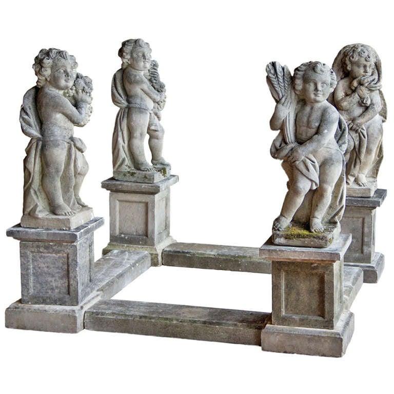 Set Of 4 Vintage Four Season Statues At 1stdibs