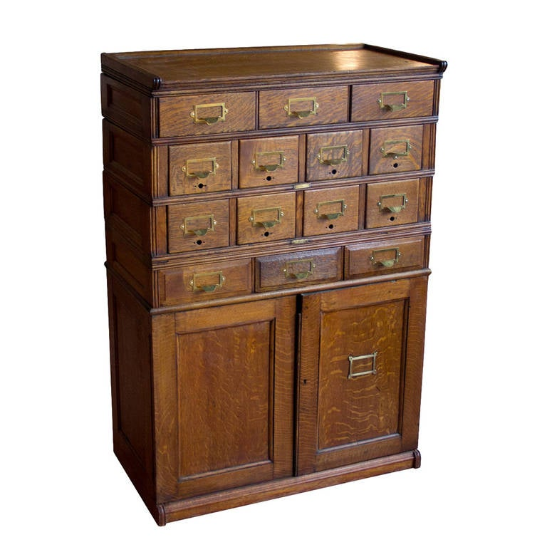 Vintage Oak Filing Cabinet at 1stdibs