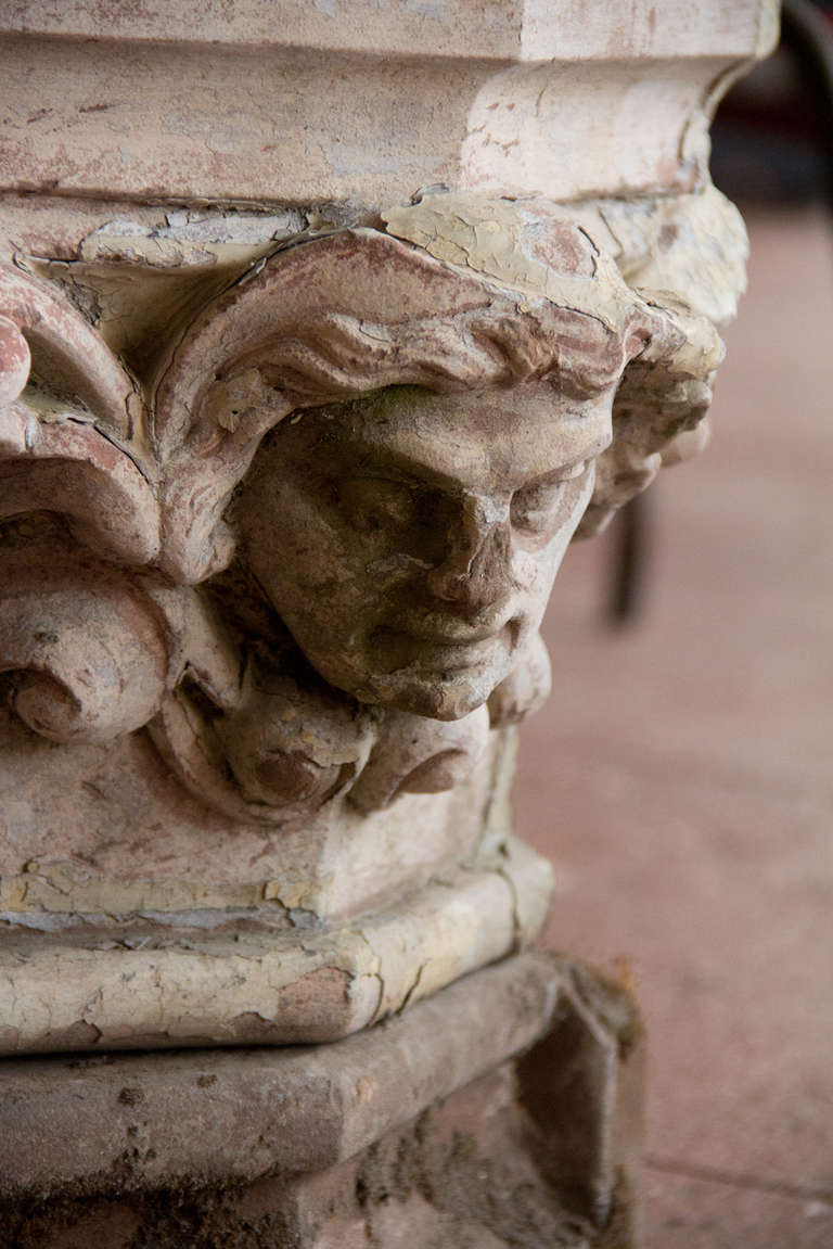 Antique carved stone head on plinth at stdibs