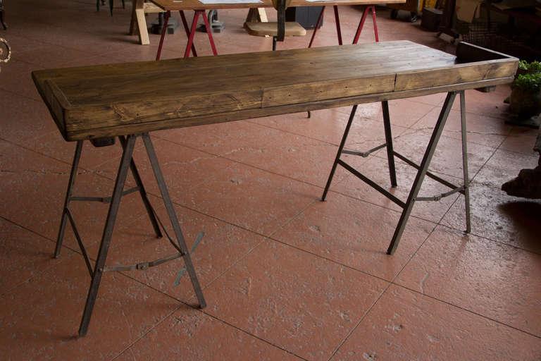 Vintage Industrial Trestle Base Desk at 1stdibs