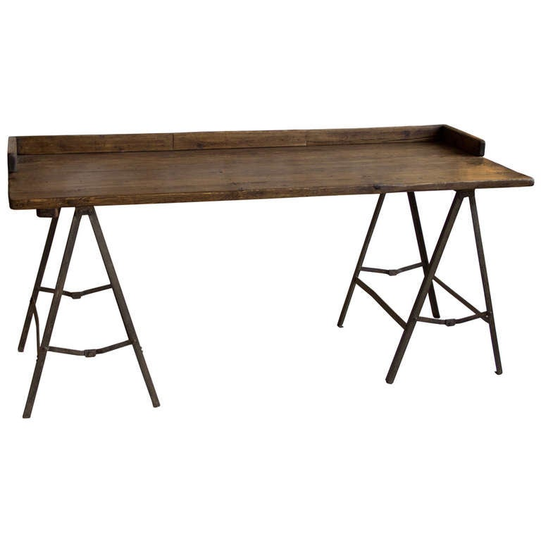 Vintage Industrial Trestle Base Desk For Sale