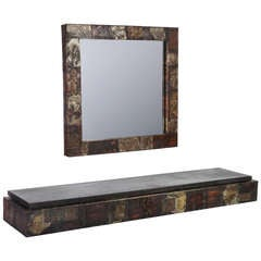 Paul Evans  Patchwork Mirror And Console