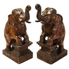 Pair Of Carved Elephants
