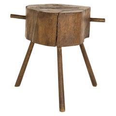 Antique Wood Butcher Block Table
