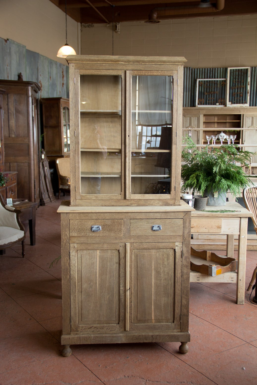 vintage french petite oak buffet deux corps at 1stdibs. Black Bedroom Furniture Sets. Home Design Ideas