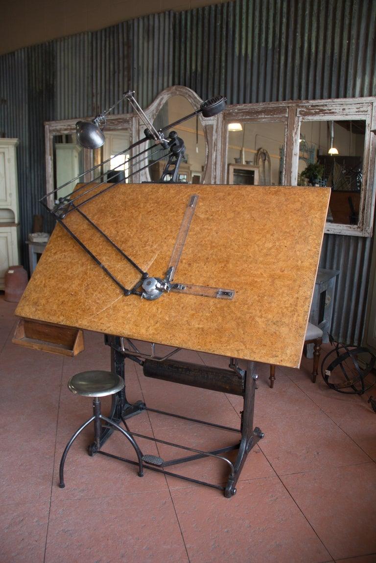 Vintage Oldor Industrial Drafting Table And Stool At 1stdibs