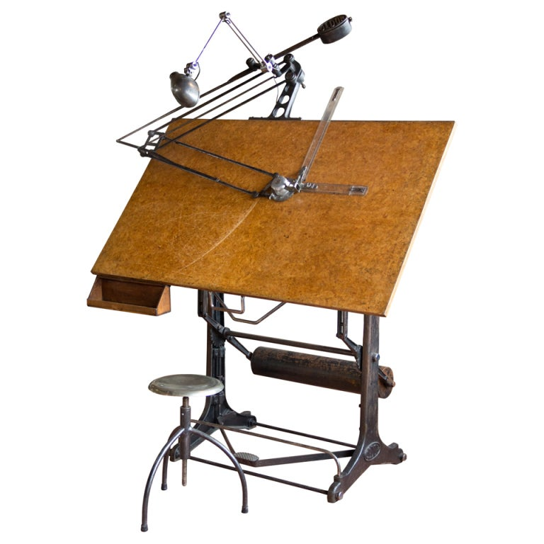 Vintage Oldor Industrial Drafting Table And Stool At 1stdibs