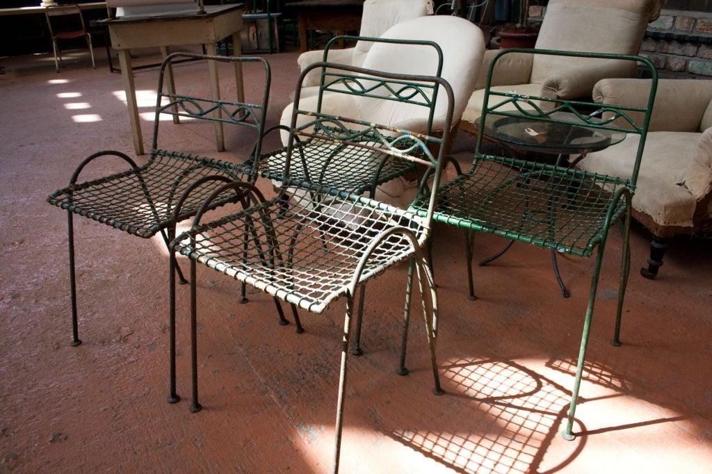Set of 4 Vintage Wirework Garden Chairs 2