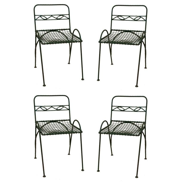 Set of 4 Vintage Wirework Garden Chairs 1