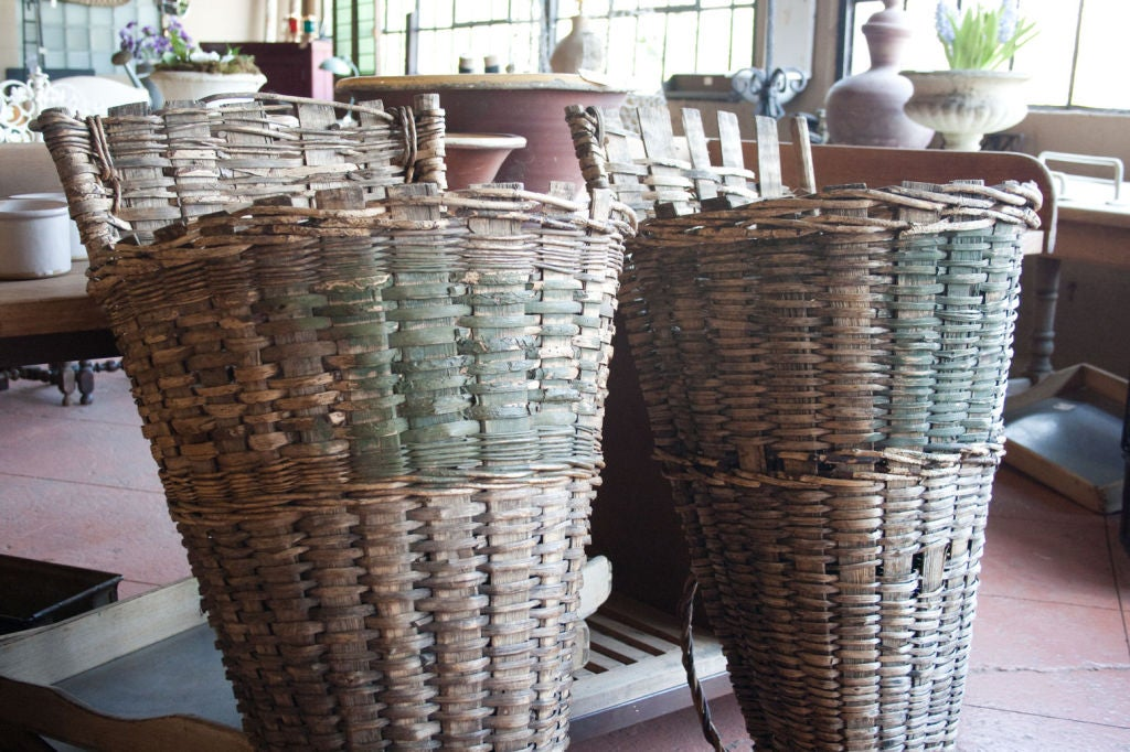 Pair of  Wicker & Cleft Oak Grape Harvest Hottes image 2