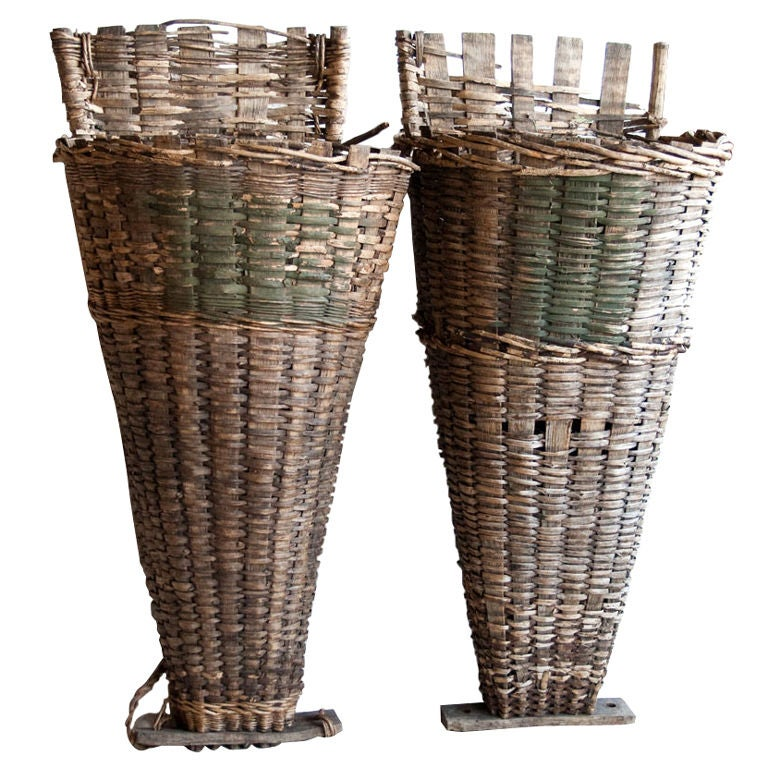 Pair of  Wicker & Cleft Oak Grape Harvest Hottes