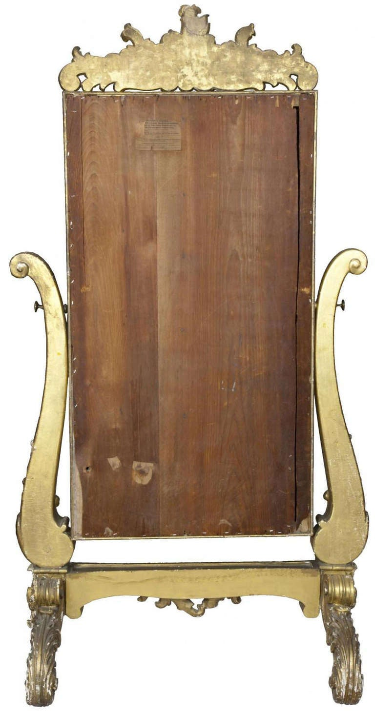 19th Century Large Gold Leaf Rococo Revival Dressing Mirror, circa 1860 For Sale