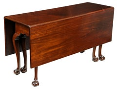 Mahogany Chippendale, Six Leg Claw and Ball Drop-Leaf Dining Table