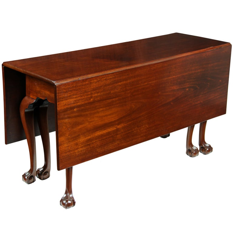 Mahogany Chippendale Six Leg Claw And Ball Drop Leaf