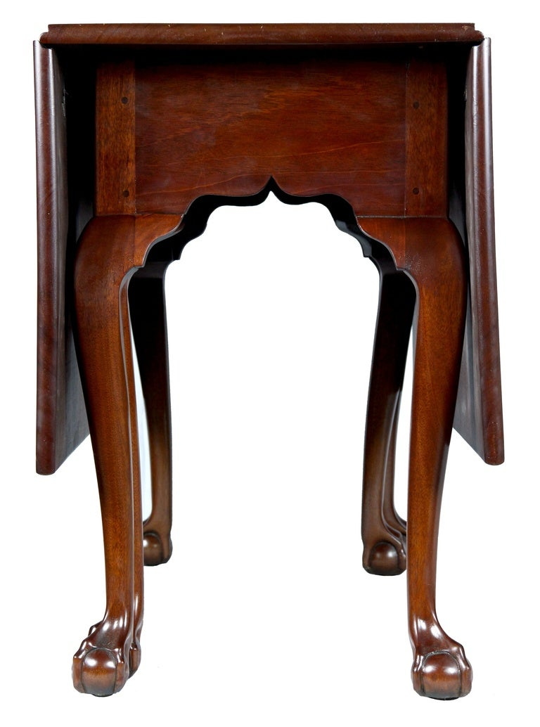 American Mahogany Chippendale, Six Leg Claw and Ball Drop-Leaf Dining Table For Sale