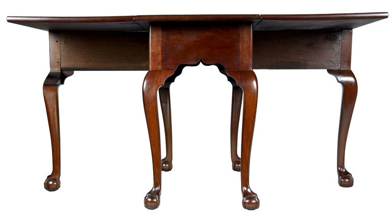 18th Century Mahogany Chippendale, Six Leg Claw and Ball Drop-Leaf Dining Table For Sale